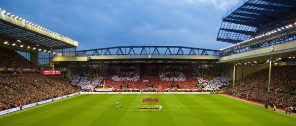 LIVERPOOL, ENGLAND - Thursday, April 14, 2016: Liverpool supporters on the Spion Kop form a mosaic '96' in memory of the 96 victims of the Hillsborough Disaster as the players of Liverpool and Borussia Dortmund stand in silence before the UEFA Europa League Quarter-Final 2nd Leg match at Anfield. (Pic by David Rawcliffe/Propaganda)