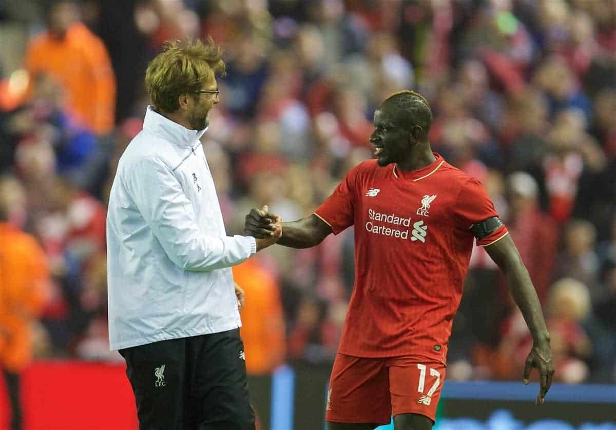 Liverpool's manager Jürgen Klopp celebrates with Mamadou Sakho after the dramatic 4-3 (5-4 aggregate) victory over Borussia Dortmund during the UEFA Europa League Quarter-Final 2nd Leg match at Anfield. (Pic by David Rawcliffe/Propaganda)