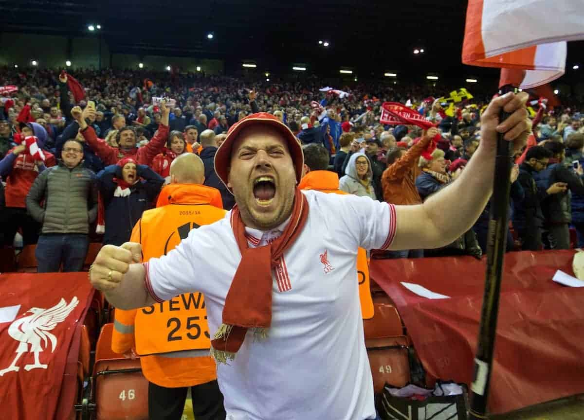 LIVERPOOL, ENGLAND - Thursday, April 14, 2016: A Liverpool supporter celebrates his side's dramatic injury time 4-3 (5-4 aggregate) victory over Borussia Dortmund during the UEFA Europa League Quarter-Final 2nd Leg match at Anfield. (Pic by David Rawcliffe/Propaganda)