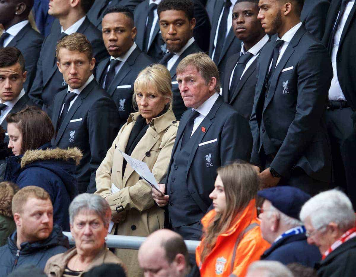 LIVERPOOL, ENGLAND - Friday, April 15, 2016: Liverpool's non-executive director Kenny Dalglish and wife Marina during the 27th Anniversary Hillsborough Service at Anfield. (Pic by David Rawcliffe/Propaganda)