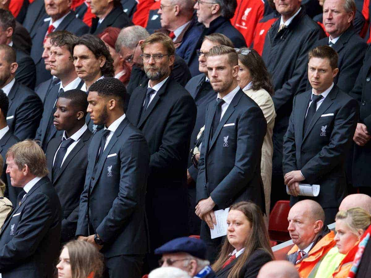 LIVERPOOL, ENGLAND - Friday, April 15, 2016: Liverpool's manager Jürgen Klopp and captain Jordan Henderson during the 27th Anniversary Hillsborough Service at Anfield. (Pic by David Rawcliffe/Propaganda)