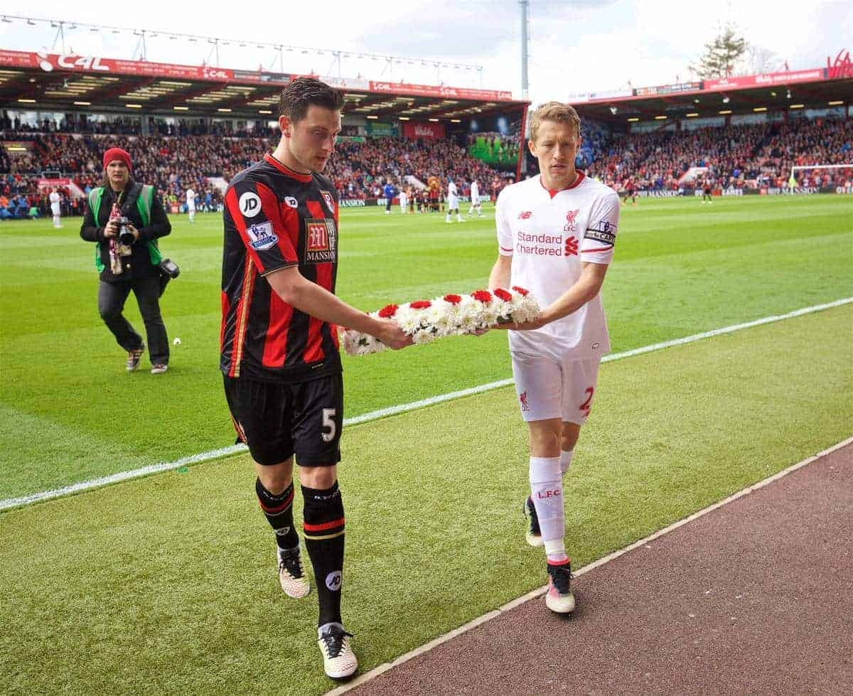 BOURNEMOUTH, ENGLAND - Sunday, April 17, 2016: Liverpool's Lucas Leiva and Bournemouth's captain Tommy Elphick lay a wreath to remember the 96 victims of the Hillsborough Stadium Disaster before the FA Premier League match at Dean Court. (Pic by David Rawcliffe/Propaganda)
