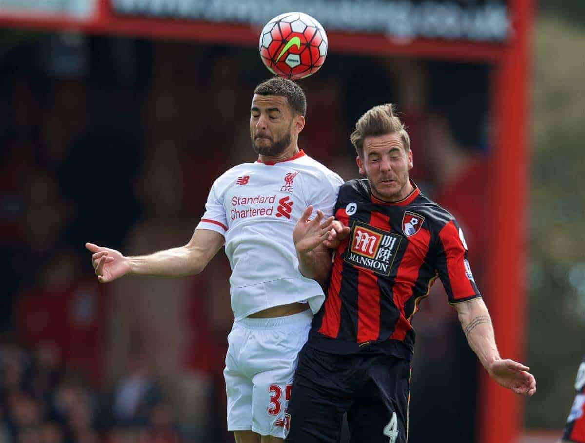 BOURNEMOUTH, ENGLAND - Sunday, April 17, 2016: Liverpool's Kevin Stewart in action against Bournemouth's Dan Gosling during the FA Premier League match at Dean Court. (Pic by David Rawcliffe/Propaganda)