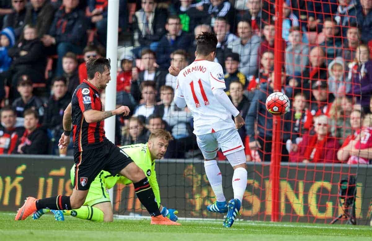 BOURNEMOUTH, ENGLAND - Sunday, April 17, 2016: Liverpool's Roberto Firmino scores the first goal against Bournemouth during the FA Premier League match at Dean Court. (Pic by David Rawcliffe/Propaganda)