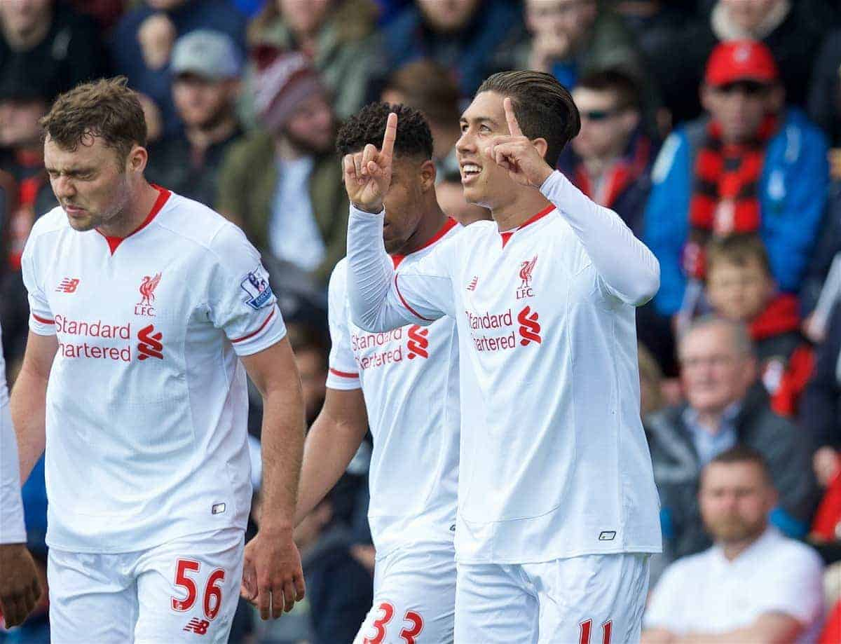 BOURNEMOUTH, ENGLAND - Sunday, April 17, 2016: Liverpool's celebrates scoring the first goal against Bournemouth during the FA Premier League match at Dean Court. (Pic by David Rawcliffe/Propaganda)