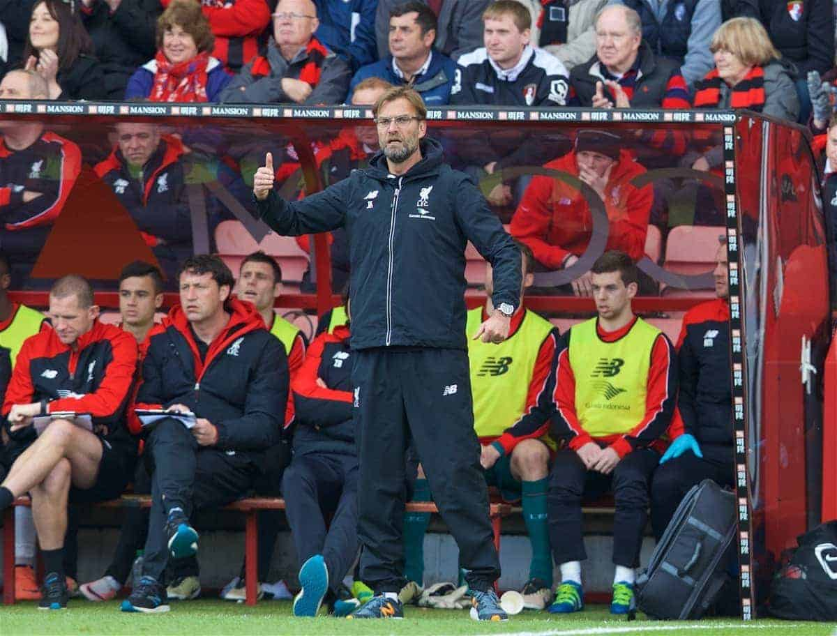 BOURNEMOUTH, ENGLAND - Sunday, April 17, 2016: Liverpool's manager Jürgen Klopp during the FA Premier League match against AFC Bournemouth at Dean Court. (Pic by David Rawcliffe/Propaganda)