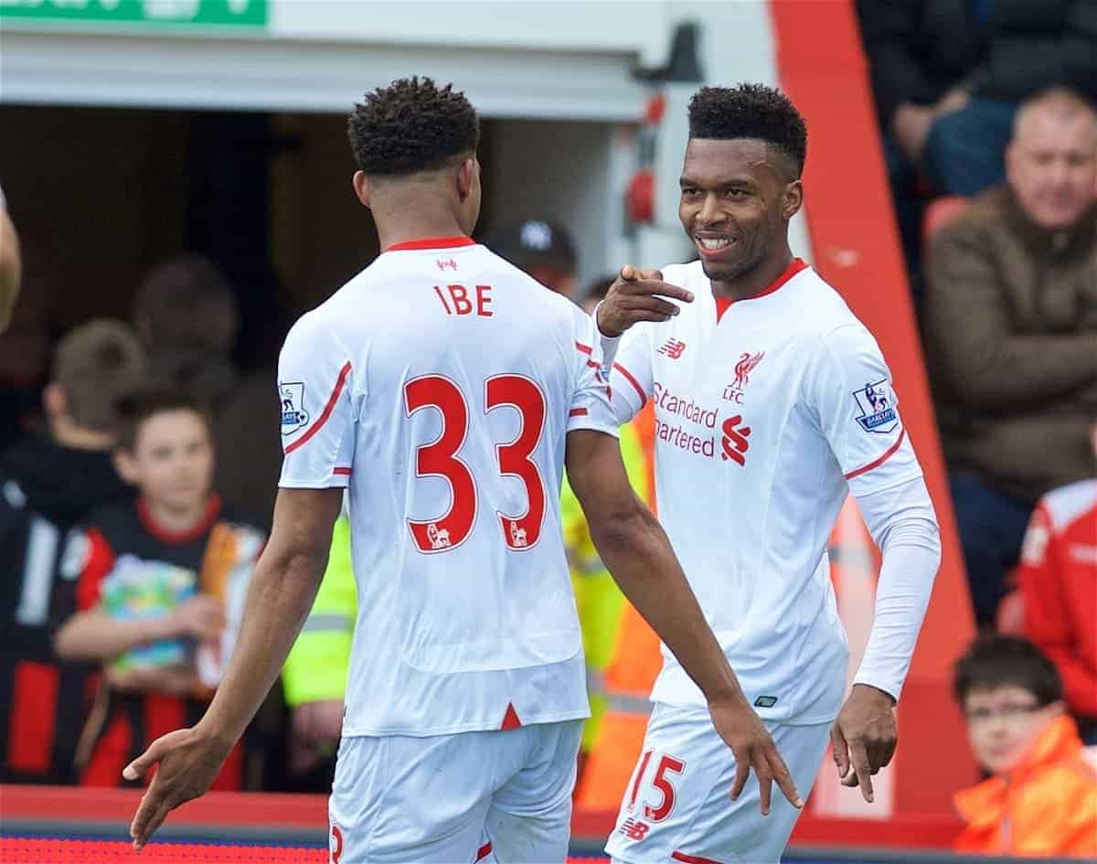 BOURNEMOUTH, ENGLAND - Sunday, April 17, 2016: Liverpool's Daniel Sturridge celebrates scoring the second goal against Bournemouth with team-mate Jordon Ibe during the FA Premier League match at Dean Court. (Pic by David Rawcliffe/Propaganda)