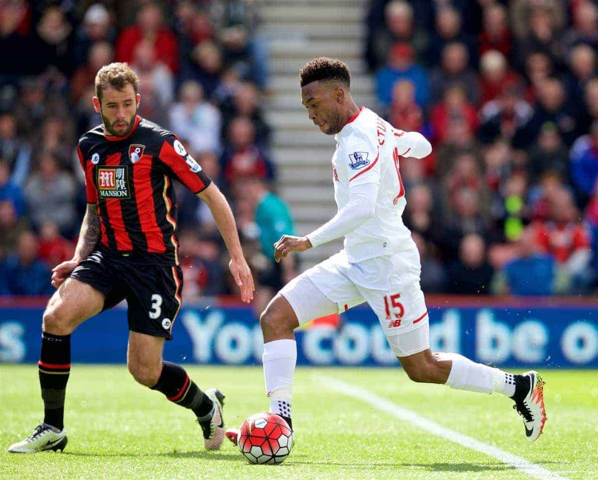 BOURNEMOUTH, ENGLAND - Sunday, April 17, 2016: Liverpool's Daniel Sturridge in action against Bournemouth during the FA Premier League match at Dean Court. (Pic by David Rawcliffe/Propaganda)
