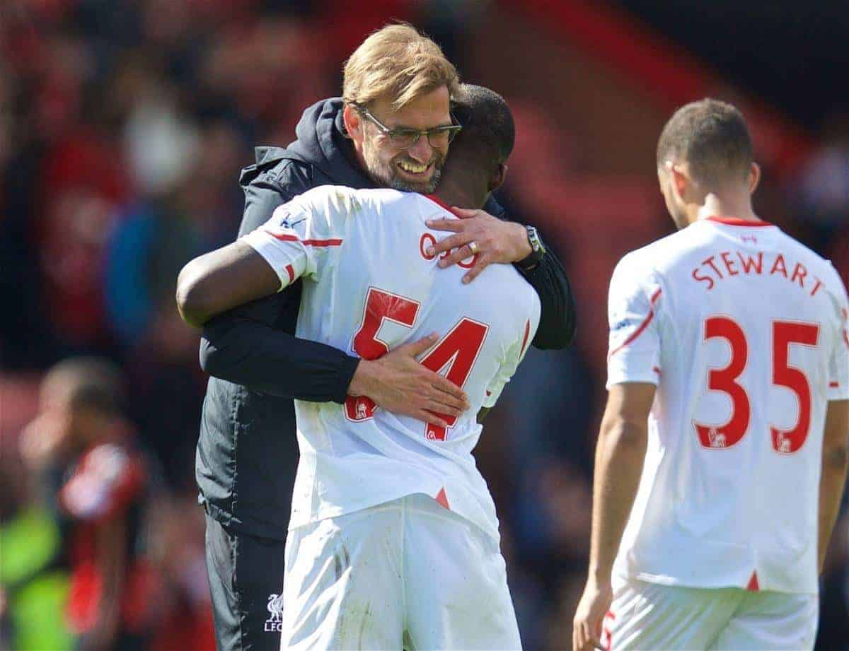 BOURNEMOUTH, ENGLAND - Sunday, April 17, 2016: Liverpool's manager Jürgen Klopp embraces Sheyi Ojo after the 2-1 victory over Bournemouth during the FA Premier League match at Dean Court. (Pic by David Rawcliffe/Propaganda)