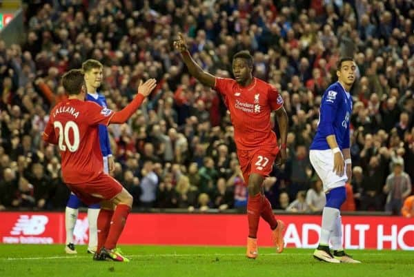 LIVERPOOL, ENGLAND - Wednesday, April 20, 2016: Liverpool's Divock Origi celebrates scoring the first goal against Everton during the Premier League match at Anfield, the 226th Merseyside Derby. (Pic by David Rawcliffe/Propaganda)