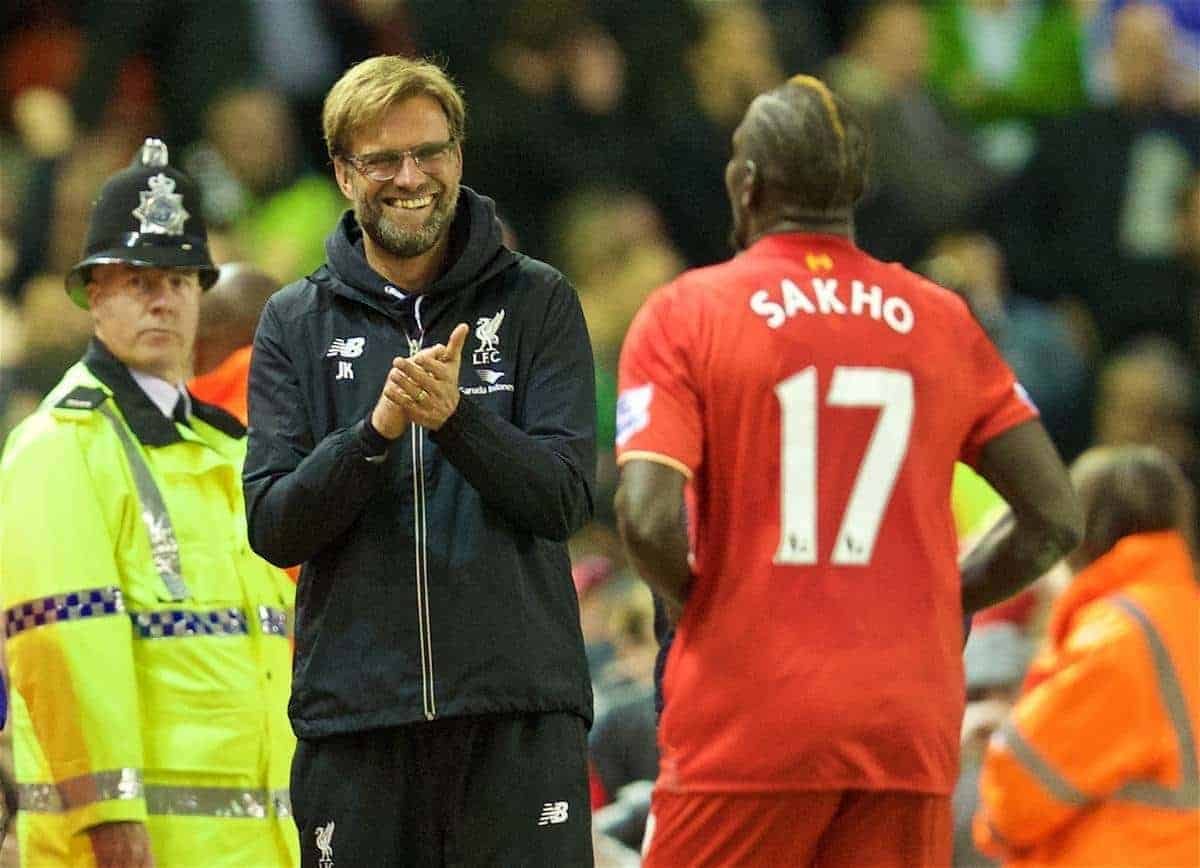 LIVERPOOL, ENGLAND - Wednesday, April 20, 2016: Liverpool's Mamadou Sakho celebrates scoring the first goal against Everton with manager Jürgen Klopp during the Premier League match at Anfield, the 226th Merseyside Derby. (Pic by David Rawcliffe/Propaganda)