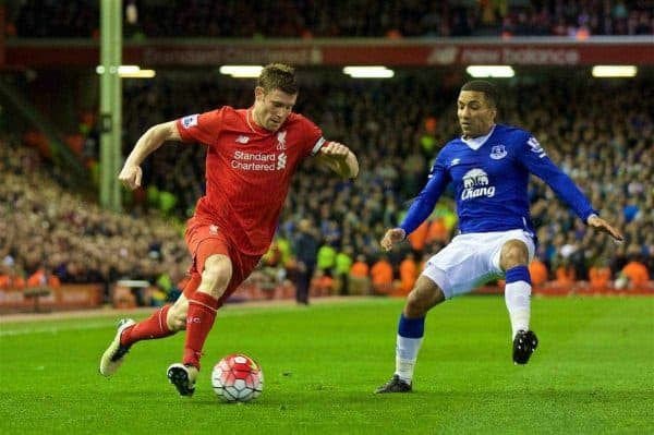 LIVERPOOL, ENGLAND - Wednesday, April 20, 2016: Liverpool's James Milner in action against Everton's Aaron Lennon during the Premier League match at Anfield, the 226th Merseyside Derby. (Pic by David Rawcliffe/Propaganda)