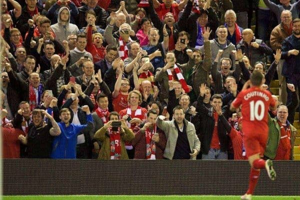 LIVERPOOL, ENGLAND - Wednesday, April 20, 2016: Liverpool's Philippe Coutinho Correia celebrates scoring the fourth goal against Everton with the supporters during the Premier League match at Anfield, the 226th Merseyside Derby. (Pic by David Rawcliffe/Propaganda)