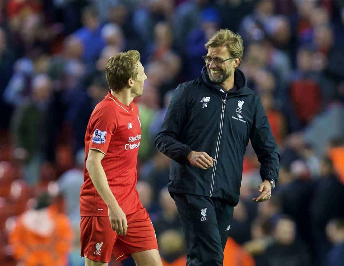 LIVERPOOL, ENGLAND - Wednesday, April 20, 2016: Liverpool's manager Jürgen Klopp celebrates with Lucas Leiva after the 4-0 thrashing of Everton during the Premier League match at Anfield, the 226th Merseyside Derby. (Pic by David Rawcliffe/Propaganda)