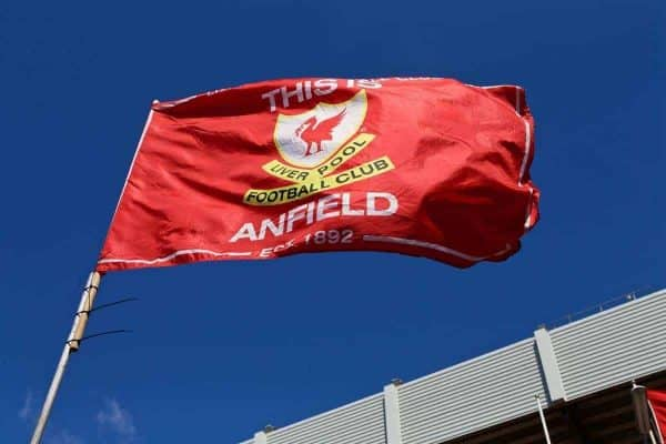 LIVERPOOL, ENGLAND - Saturday, April 23, 2016: A Liverpool flutters in the sunshine before the Premier League match against Newcastle United at Anfield. (Pic by Bradley Ormesher/Propaganda)