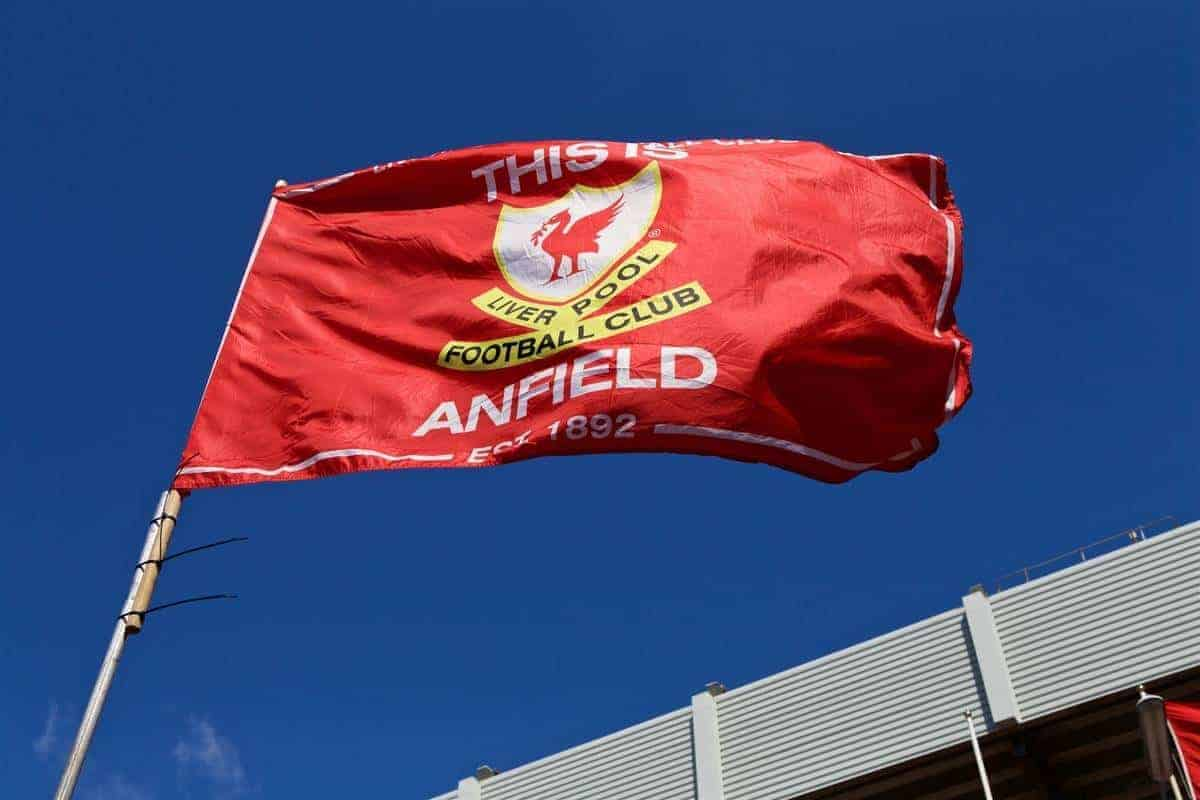 LIVERPOOL, ENGLAND - Saturday, April 23, 2016: This Is Anfield flag (General / generic) (Pic by Bradley Ormesher/Propaganda)