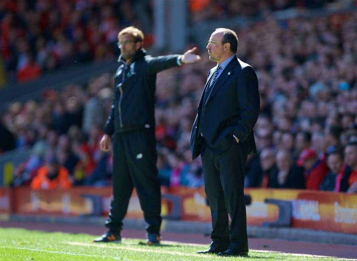 LIVERPOOL, ENGLAND - Saturday, April 23, 2016: Newcastle United's manager Rafael Benitez during the Premier League match against Liverpool at Anfield. (Pic by Bradley Ormesher/Propaganda)