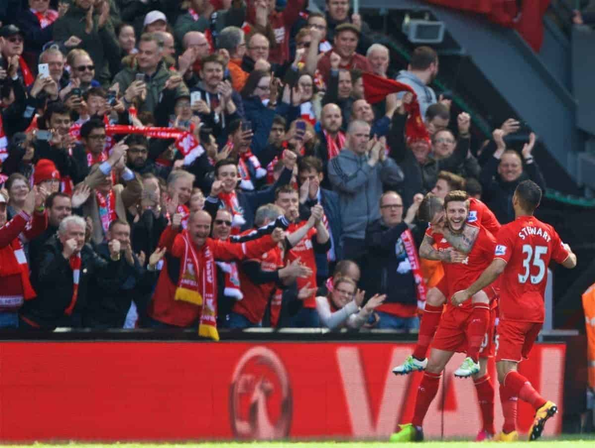 LIVERPOOL, ENGLAND - Saturday, April 23, 2016: Liverpool's Adam Lallana celebrates scoring the second goal against Newcastle United during the Premier League match at Anfield. (Pic by Bradley Ormesher/Propaganda)