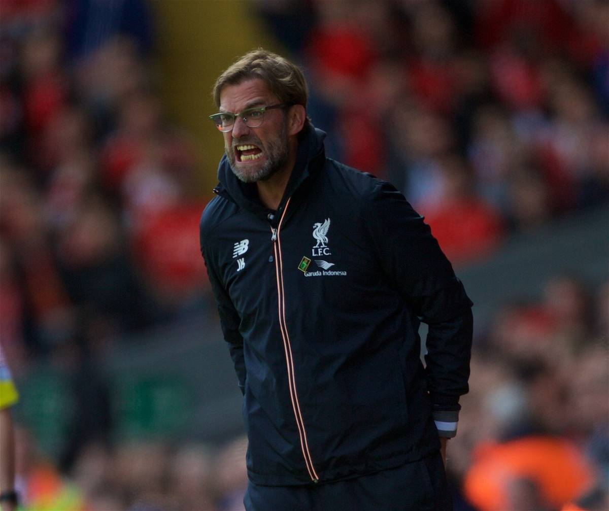 LIVERPOOL, ENGLAND - Saturday, April 23, 2016: Liverpool's manager Jürgen Klopp during the Premier League match against Newcastle United at Anfield. (Pic by Bradley Ormesher/Propaganda)