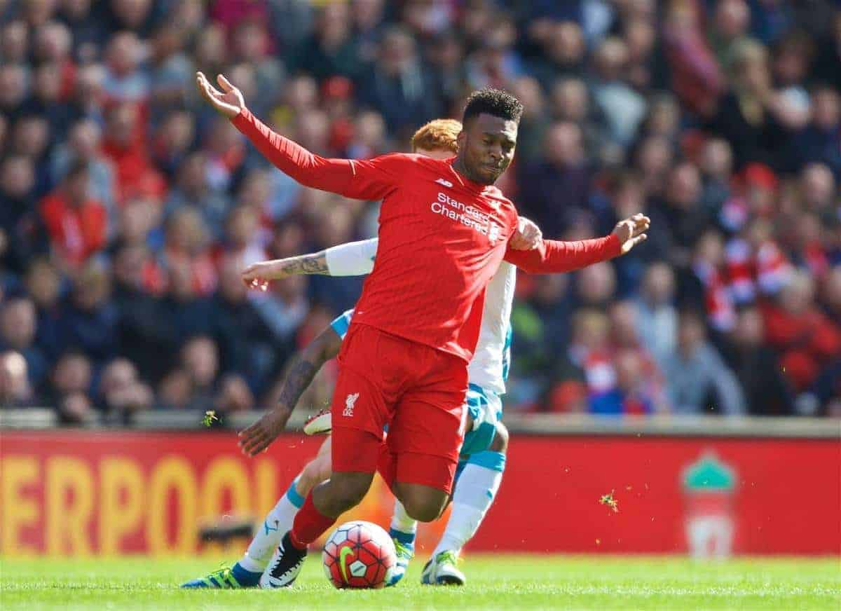 LIVERPOOL, ENGLAND - Saturday, April 23, 2016: Liverpool's Daniel Sturridge in action against Newcastle United during the Premier League match at Anfield. (Pic by Bradley Ormesher/Propaganda)