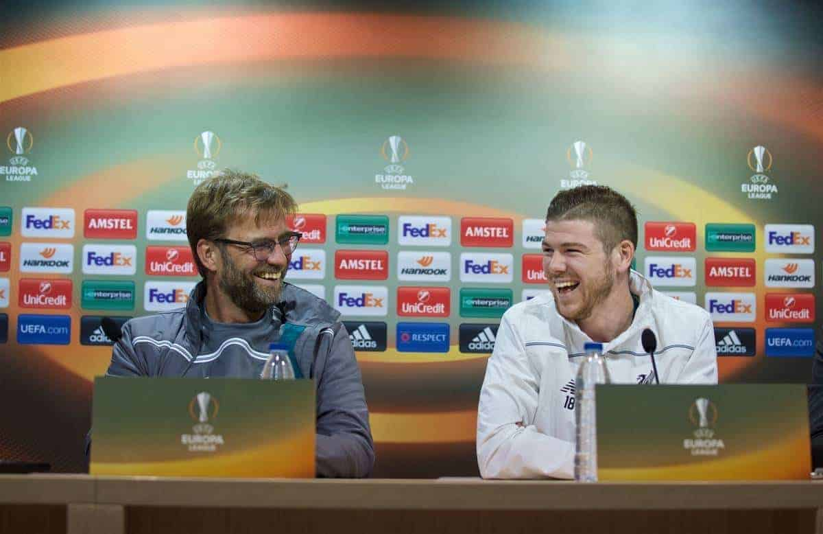 VILLARREAL, SPAIN - Wednesday, April 27, 2016: Liverpool's manager Jürgen Klopp and Alberto Moreno during a press conference ahead of the UEFA Europa League Semi-Final 1st Leg match against Villarreal CF at Estadio El Madrigal. (Pic by David Rawcliffe/Propaganda)