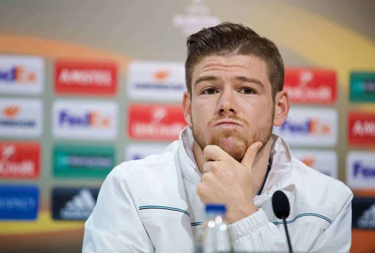 VILLARREAL, SPAIN - Wednesday, April 27, 2016: Liverpool's Alberto Moreno during a press conference ahead of the UEFA Europa League Semi-Final 1st Leg match against Villarreal CF at Estadio El Madrigal. (Pic by David Rawcliffe/Propaganda)