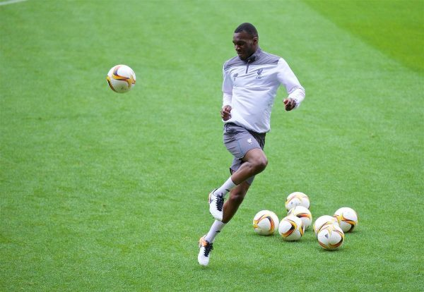 VILLRREAL, SPAIN - Wednesday, April 27, 2016: Liverpool's Christian Benteke during a training session ahead of the UEFA Europa League Semi-Final 1st Leg match against Villarreal CF at Estadio El Madrigal. (Pic by David Rawcliffe/Propaganda)
