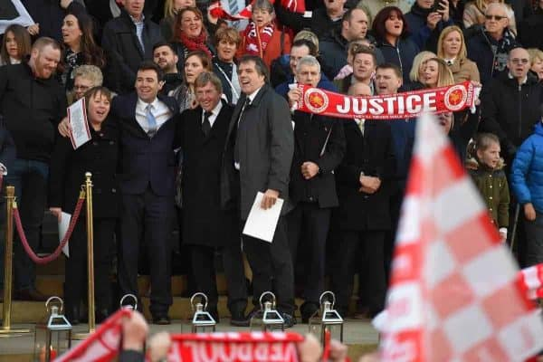 "LIVERPOOL, ENGLAND - Wednesday, April 27, 2016: L-R Angela Eagle MP, Andy Burnam MP, Former Liverpool Manager Kenny Dalglish and Steve Rotherham MP sing ""You'll Never Walk Alone"" with the family and friends of the 96 victims as thousands of people gather outside Liverpool's St George's Hall in remembrance of the 96 victims who died at the Hillsborough disaster, a day after after a two-year long inquest court delivered a verdict of unlawful killing. (Pic by Propaganda)"