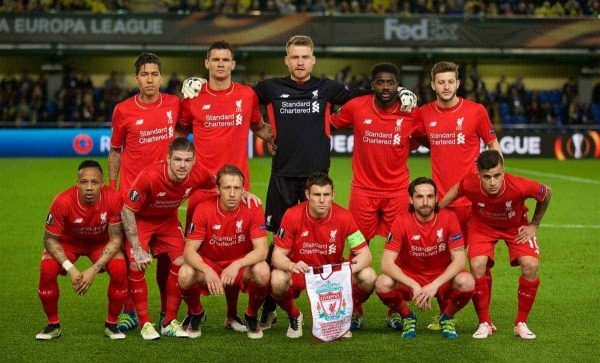 VILLRREAL, SPAIN - Thursday, April 28, 2016: Liverpool's players line up for a team group photograph before the UEFA Europa League Semi-Final 1st Leg match against Villarreal CF at Estadio El Madrigal. Back row L-R: Roberto Firmino, Dejan Lovren, goalkeeper Simon Mignolet, Kolo Toure, Adam Lallana. Front row L-R: Nathaniel Clyne, Alberto Moreno, Lucas Leiva, James Milner, Joe Allen, Philippe Coutinho Correia. (Pic by David Rawcliffe/Propaganda)