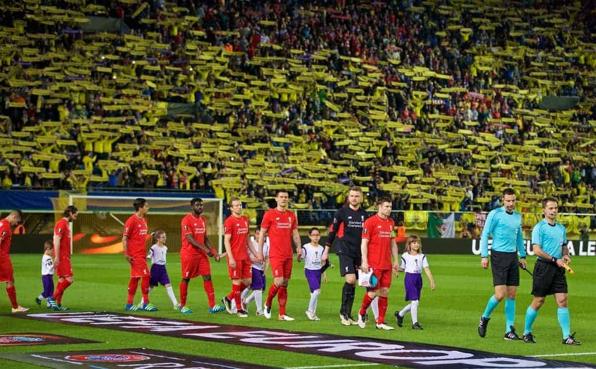 VILLRREAL, SPAIN - Thursday, April 28, 2016: Liverpool's captain James Milner leads his side out to face Villarreal CF during the UEFA Europa League Semi-Final 1st Leg match at Estadio El Madrigal. (Pic by David Rawcliffe/Propaganda)