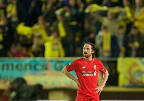 Liverpool's Joe Allen looks dejected after the injury-time goal to Villarreal CF during the UEFA Europa League Semi-Final 1st Leg match at Estadio El Madrigal. (Pic by David Rawcliffe/Propaganda)