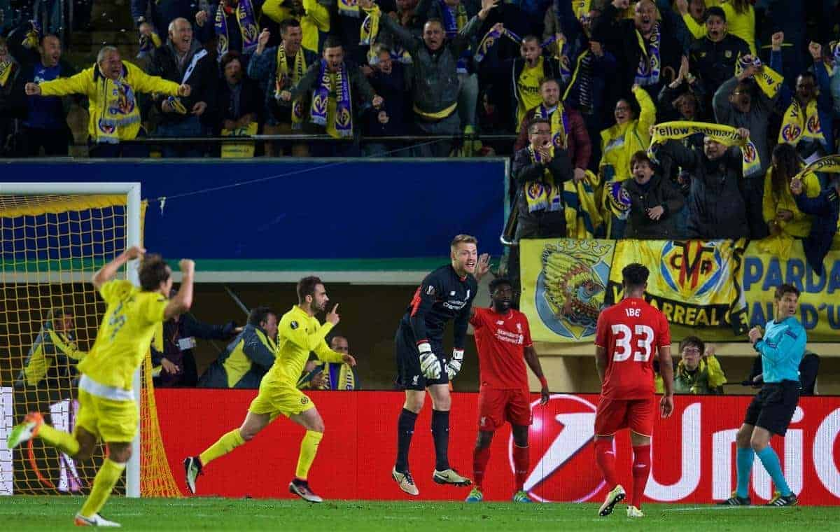 VILLRREAL, SPAIN - Thursday, April 28, 2016: Liverpool's goalkeeper Simon Mignolet looks dejected as Villarreal CF's Adrián López celebrates scoring the winning goal in injury time during the UEFA Europa League Semi-Final 1st Leg match at Estadio El Madrigal. (Pic by David Rawcliffe/Propaganda)