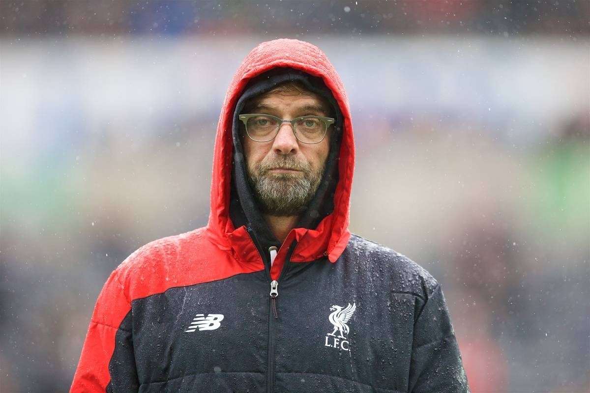 SWANSEA, WALES - Sunday, May 1, 2016: Liverpool's manager Jürgen Klopp before the Premier League match against Swansea City at the Liberty Stadium. (Pic by David Rawcliffe/Propaganda)