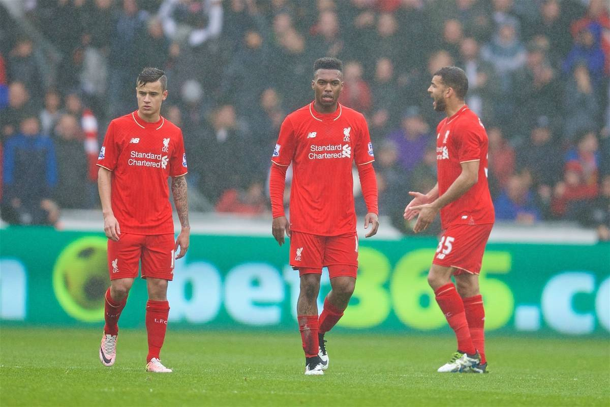 SWANSEA, WALES - Sunday, May 1, 2016: Liverpool's Daniel Sturridge looks dejected as Swansea City score the opening goal during the Premier League match at the Liberty Stadium. (Pic by David Rawcliffe/Propaganda)