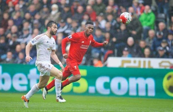 SWANSEA, WALES - Sunday, May 1, 2016: Liverpool's Daniel Sturridge shoots against Swansea City during the Premier League match at the Liberty Stadium. (Pic by David Rawcliffe/Propaganda)