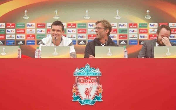 LIVERPOOL, ENGLAND - Wednesday, May 4, 2016: Liverpool's manager Jürgen Klopp and Dejan Lovren during a press conference at Melwood Training Ground ahead of the UEFA Europa League Semi-Final 2nd Leg match against Villarreal CF. (Pic by David Rawcliffe/Propaganda)