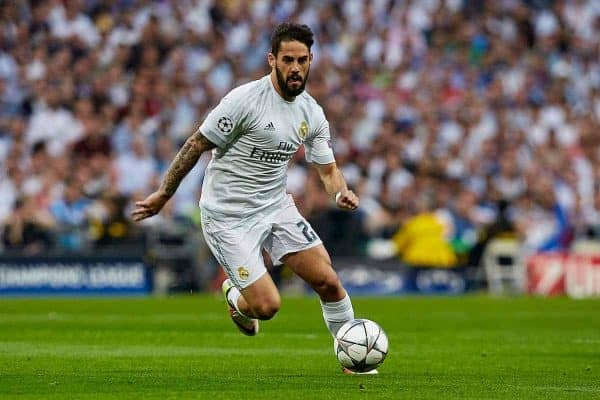 MADRID, SPAIN - Wednesday, May 4, 2016: Real Madrid's Isco in action against Manchester City during the UEFA Champions League Semi-Final 2nd Leg match at the Estadio Santiago Bernabeu. (Pic by David Aliaga/Propaganda)