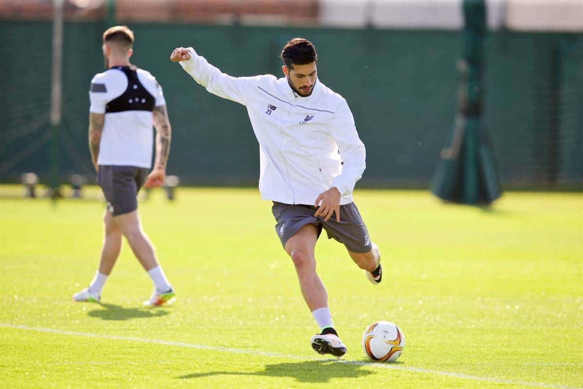 LIVERPOOL, ENGLAND - Wednesday, May 4, 2016: Liverpool's Emre Can during a training session at Melwood Training Ground ahead of the UEFA Europa League Semi-Final 2nd Leg match against Villarreal CF. (Pic by David Rawcliffe/Propaganda)