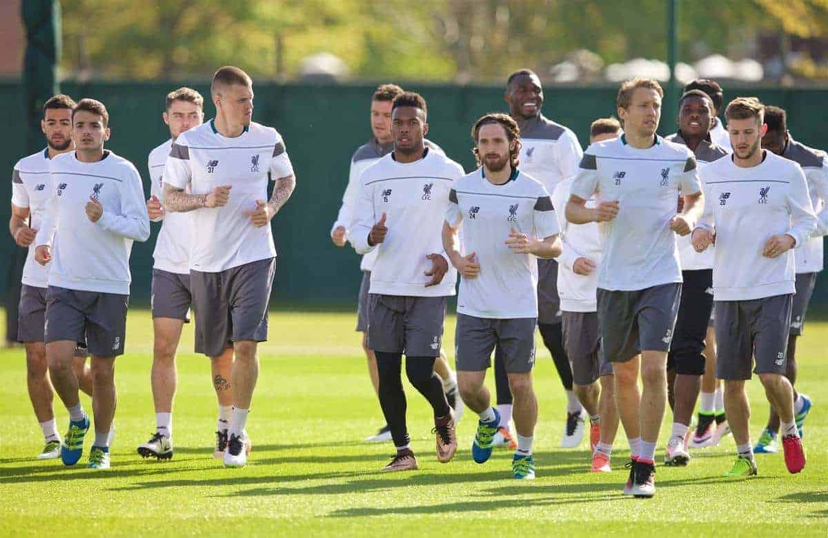 LIVERPOOL, ENGLAND - Wednesday, May 4, 2016: Liverpool's Martin Skrtel, Daniel Sturridge, Joe Allen and Lucas Leiva during a training session at Melwood Training Ground ahead of the UEFA Europa League Semi-Final 2nd Leg match against Villarreal CF. (Pic by David Rawcliffe/Propaganda)