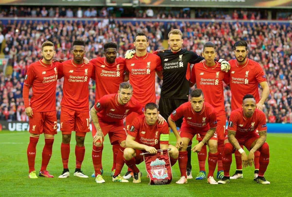 LIVERPOOL, ENGLAND - Thursday, May 5, 2016: Liverpool's players line up for a team group photograph before the UEFA Europa League Semi-Final 2nd Leg match against Villarreal CF at Anfield. (Pic by David Rawcliffe/Propaganda)