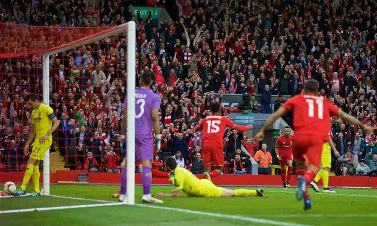 LIVERPOOL, ENGLAND - Thursday, May 5, 2016: Liverpool's Daniel Sturridge celebrates scoring the first goal against Villarreal during the UEFA Europa League Semi-Final 2nd Leg match at Anfield. (Pic by David Rawcliffe/Propaganda)