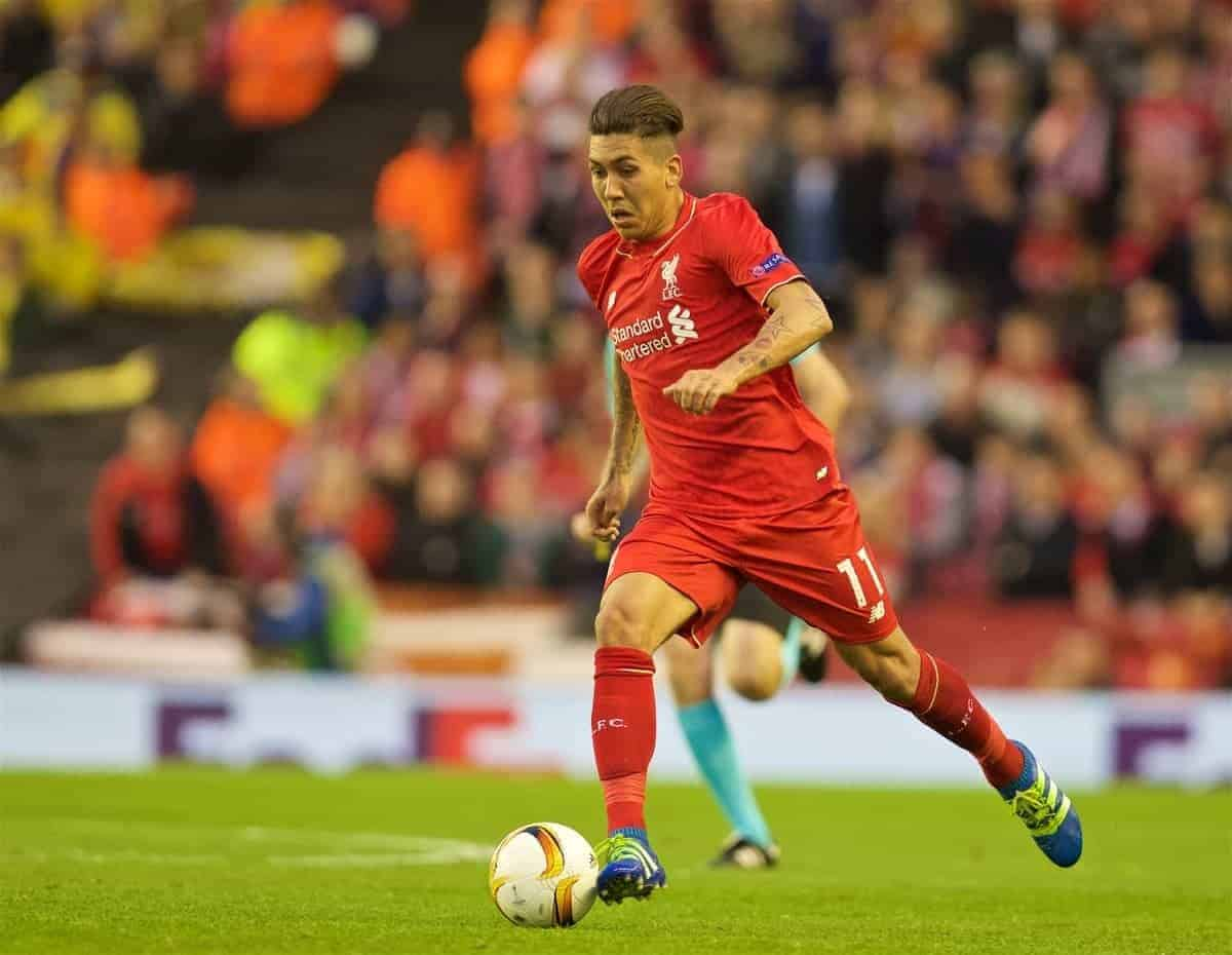 LIVERPOOL, ENGLAND - Thursday, May 5, 2016: Liverpool's Roberto Firmino in action against Villarreal during the UEFA Europa League Semi-Final 2nd Leg match at Anfield. (Pic by David Rawcliffe/Propaganda)