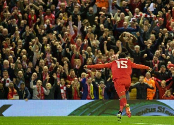 LIVERPOOL, ENGLAND - Thursday, May 5, 2016: Liverpool's Daniel Sturridge celebrates scoring the second goal against Villarreal during the UEFA Europa League Semi-Final 2nd Leg match at Anfield. (Pic by David Rawcliffe/Propaganda)