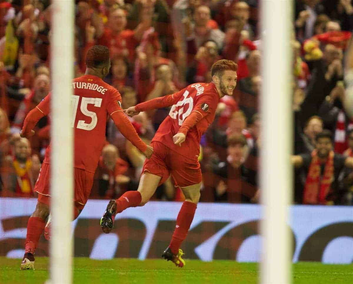 LIVERPOOL, ENGLAND - Thursday, May 5, 2016: Liverpool's Adam Lallana celebrates scoring the third goal against Villarreal during the UEFA Europa League Semi-Final 2nd Leg match at Anfield. (Pic by David Rawcliffe/Propaganda)