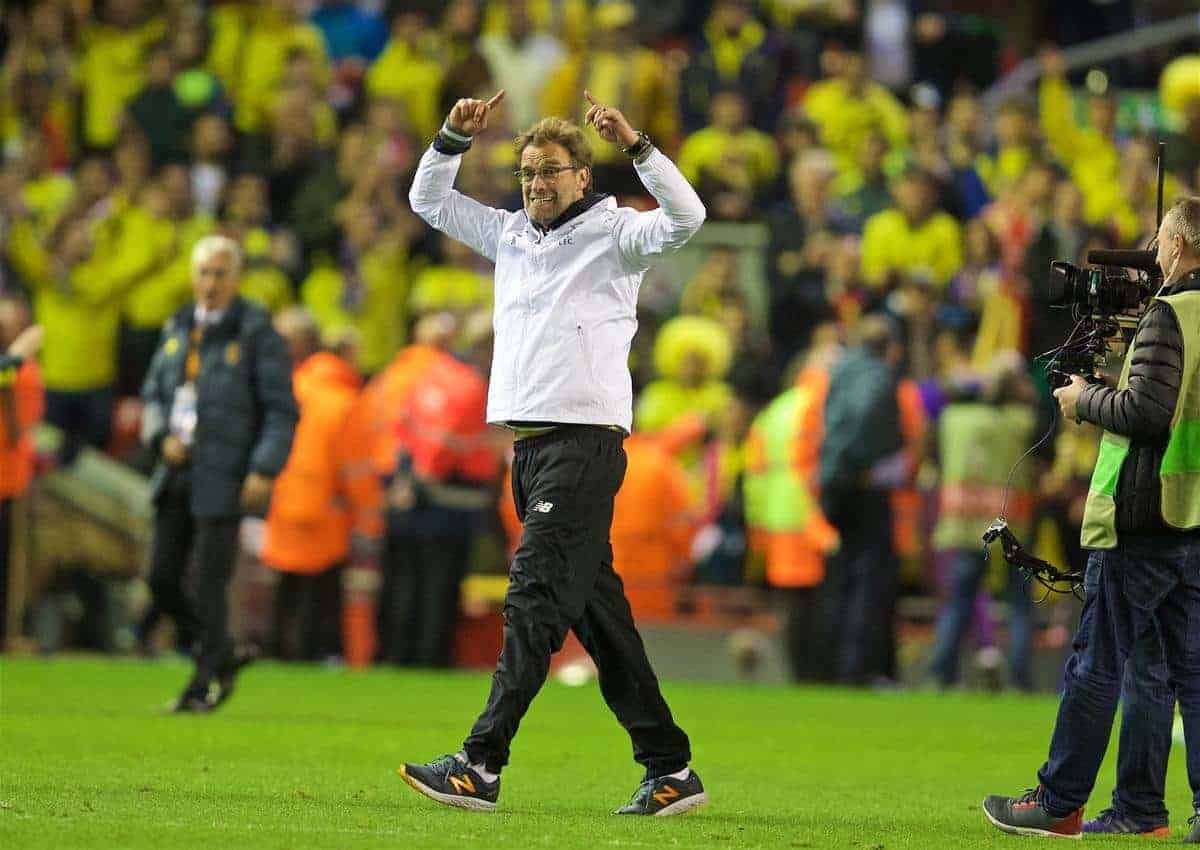 LIVERPOOL, ENGLAND - Thursday, May 5, 2016: Liverpool's manager Jürgen Klopp' celebrates his side's 3-0 victory over Villarreal, reaching the final 3-1 on aggregate, during the UEFA Europa League Semi-Final 2nd Leg match at Anfield. (Pic by David Rawcliffe/Propaganda)