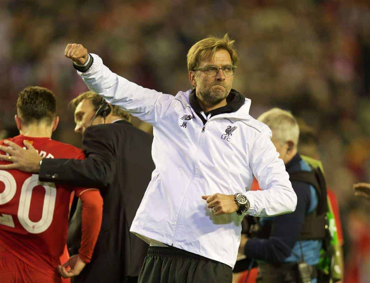 LIVERPOOL, ENGLAND - Thursday, May 5, 2016: Liverpool's manager Jürgen Klopp celebrates his side's 3-0 victory over Villarreal, reaching the final 3-1 on aggregate, during the UEFA Europa League Semi-Final 2nd Leg match at Anfield. (Pic by David Rawcliffe/Propaganda)