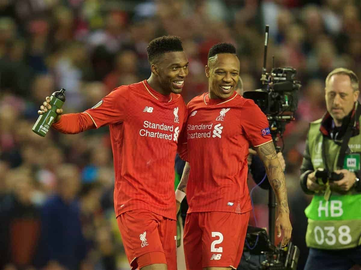 LIVERPOOL, ENGLAND - Thursday, May 5, 2016: Liverpool's Daniel Sturridge and Nathaniel Clyne celebrate after his side's 3-0 victory over Villarreal, reaching the final 3-1 on aggregate, during the UEFA Europa League Semi-Final 2nd Leg match at Anfield. (Pic by David Rawcliffe/Propaganda)