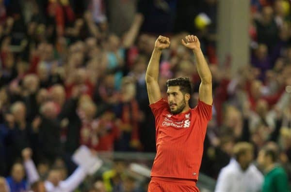 LIVERPOOL, ENGLAND - Thursday, May 5, 2016: Liverpool's Emre Can celebrates at the final whistle after his side's 3-0 victory over Villarreal, reaching the final 3-1 on aggregate, during the UEFA Europa League Semi-Final 2nd Leg match at Anfield. (Pic by David Rawcliffe/Propaganda)