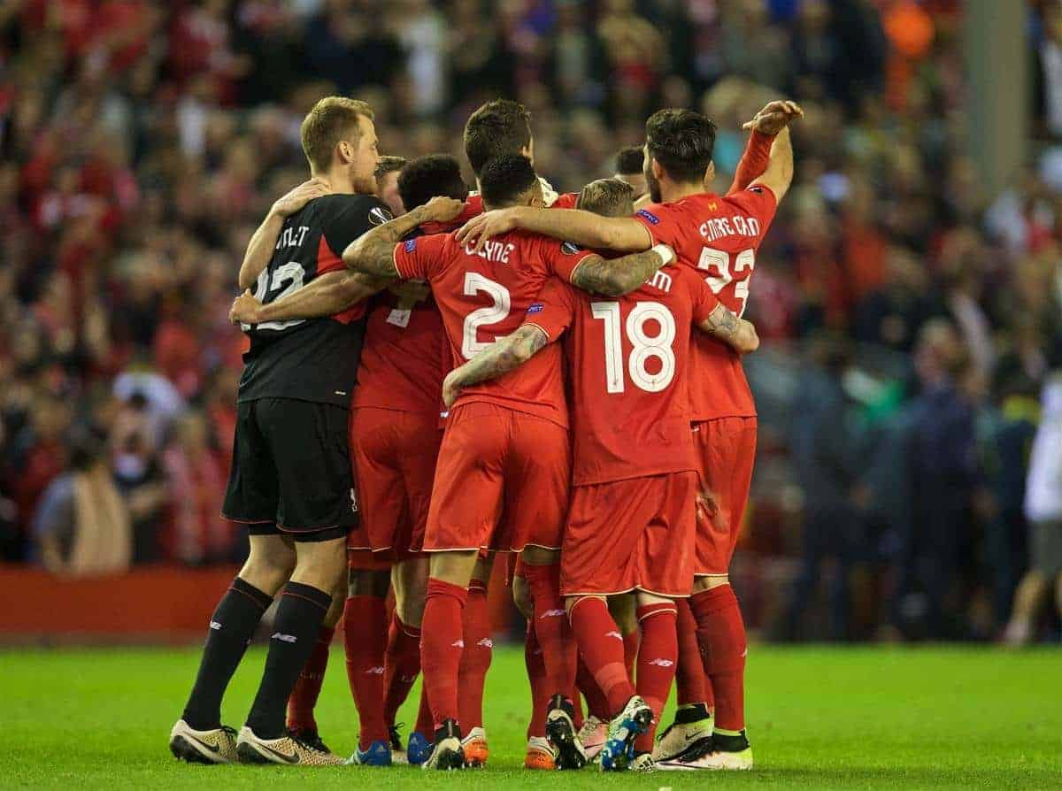 LIVERPOOL, ENGLAND - Thursday, May 5, 2016: Liverpool's players celebrate at the final whistle after his side's 3-0 victory over Villarreal, reaching the final 3-1 on aggregate, during the UEFA Europa League Semi-Final 2nd Leg match at Anfield. (Pic by David Rawcliffe/Propaganda)