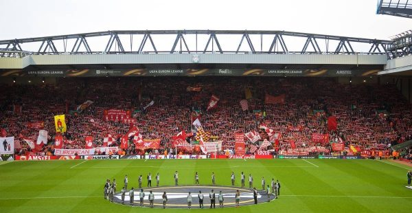 LIVERPOOL, ENGLAND - Thursday, May 5, 2016: Liverpool supporters' on the Spion Kop before the UEFA Europa League Semi-Final 2nd Leg match against Villarreal CF at Anfield. (Pic by David Rawcliffe/Propaganda)